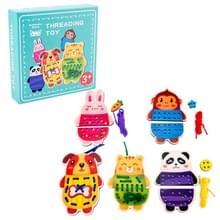 KBX-314 Kinderen Educatieve Fruit Animal Threading Board Baby Early Education Houten Speelgoed (Panda Animal )