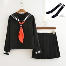 Cosplay Schoolgirl Navy Sailor School Uniform (Zwarte set met sokken)