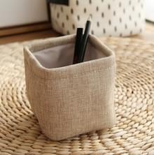 Mini kleine linnen pennenhouder Desktop doek eenvoudige briefpapier houders (kaki)
