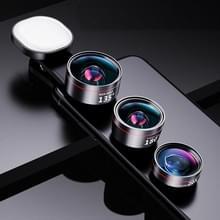 Groothoek + Macro + Fisheye + Vul licht mobiele telefoon lens professionele schieten externe HD camera set