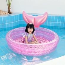 Opblaasbare zeemeermin vorm zwembad thuis kinderen baby roze ronde zwembad drijvende luchtkussen  grootte: 150cm