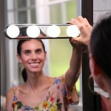 2 stuks 4 LED lampen make-up licht Super heldere draagbare make-upspiegel lichte muur Lamp (wit licht)
