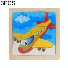3 stuks Kids houten cartoon puzzel Jigsaw Toy vroege educatief speelgoed (vliegtuig)