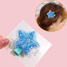 Fantasie kleur transparante drijfzand ster haarspeld transparante liefde hoofdtooi kleurrijke BB clip (blauwe pentagram)