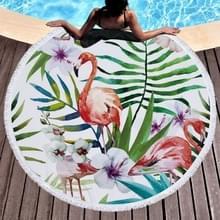 Gedrukte ronde strand handdoek yoga mat met kwast  grootte: 150x150cm (Flamingo + bloem)