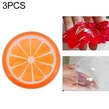 3Pcs/set Kinder puzzel fruit Crystal modder transparante fruit klei (oranje)