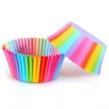 100 stuks PVC vat regenboog olie-proof cake papier Cup hoge temperatuur bakken schimmel muffin cake chocolade papierlade (kleurrijk)