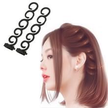 Elegantie haar Braider bloem magische Hair clip wachtrij twist plait hairstyle styling accessoires  grootte: 13.5 x 2.5 cm (zwart)