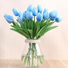 10 stuks simulatie PU mini Tulip kunstmatige bloemen zijde bloemen bruiloft Home nep bloemen (blauw)