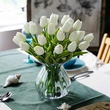 10 stuks simulatie PU mini Tulip kunstmatige bloemen zijde bloemen bruiloft Home nep bloemen (wit)