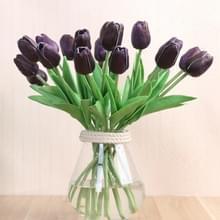 10 stuks simulatie PU mini Tulip kunstmatige bloemen zijde bloemen bruiloft Home nep bloemen (paars)