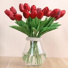 Simulatie PU mini Tulip kunst bloemen zijde bloemen bruiloft Home nep bloemen (rood)