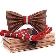 4 in 1 mannen 3D emboss hout Bow-knoop + zak plein handdoek + houten doos + 2 Manchetknopen set (T248-C4)