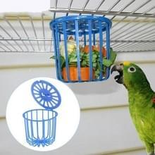 2 PC'S Bird Parrot feeder Cage fruit plantaardige houder kooi opknoping mand container huisdier vogel benodigdheden (blauw)