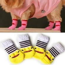 2 paar schattige puppy honden Pet gebreide anti-slip sokken (eendje)