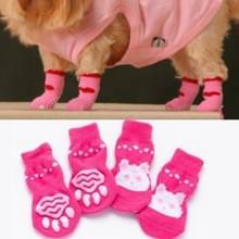 2 paar schattige puppy honden Pet gebreide anti-slip sokken (roze konijn)