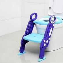 Opvouwbare Kid Potty Training wc-bril met ladder voor U-vormig of ovaal toilet (blauw)