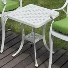 Europese Simple casual outdoor ijzeren gegoten aluminium Outdoor kleine ronde tafel (wit)