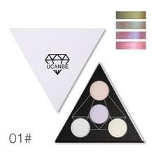 UCANBE driehoek glitter oogschaduw palet holografische schaduw Eye lip gezicht make-up glans glans poeder naakt oogschaduw (01)