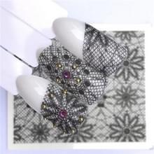 10 stuks Lace bloem design Nail sticker decal water Transfer (YZW-8639)