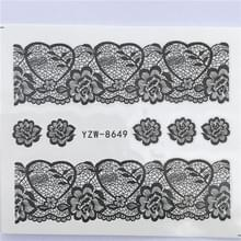 10 stuks Lace bloem design Nail sticker decal water Transfer (YZW-8649)