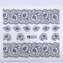 10 stuks Lace bloem design Nail sticker decal water Transfer (YZW-8653)