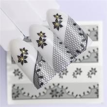 10 stuks Lace bloem design Nail sticker decal water Transfer (YZW-8665)