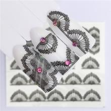10 stuks Lace bloem design Nail sticker decal water Transfer (YZW-8670)