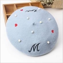 Brieven borduurwerk parel wollen baret voor vrouwen  hoed grootte: 56-58CM (blauw)