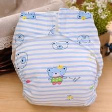 Cartoon Bear patroon Waterdicht ademend Baby katoen doek luier blauw  maat: S