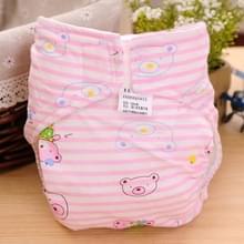 Cartoon Bear patroon Waterdicht ademend Baby katoen doek luier roze  maat: M