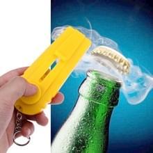 Launcher bier fles opener schieten vliegende sleutelhanger ring (geel)