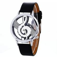 Muzikale notatie vormige wijzerplaat lederen riem quartz horloge voor vrouwen/mannen (zwart)