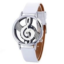 Muzikale notatie vormige Dial lederen riem quartz horloge voor vrouwen/mannen (wit)