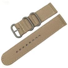 Wasbaar nylon canvas horlogeband  band breedte: 20mm (kaki met zilveren ring gesp)