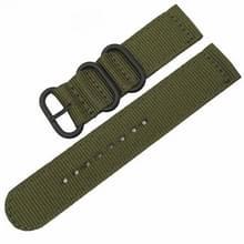 Wasbaar nylon canvas horlogeband  band breedte: 22mm (leger groen met zwarte ring gesp)