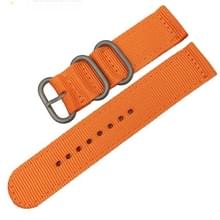 Wasbaar nylon canvas horlogeband  band breedte: 22mm (oranje met zilveren ring gesp)
