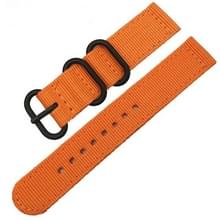 Wasbaar nylon canvas horlogeband  band breedte: 24mm (oranje met zwarte ring gesp)