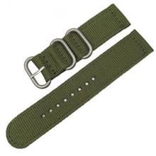 Wasbaar nylon canvas horlogeband  band breedte: 24mm (leger groen met zilveren ring gesp)
