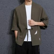 Mannen losse borduurwerk Hanfu gewaad Cardigan  grootte: 5XL (groen)