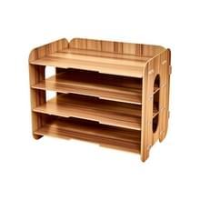 Creative Home Office Desktop 4 lagen bestand organisator hout document brief houder lade multi-Storey plank (Cherrywood)