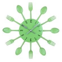Bestek metalen keuken Wandklok lepel vork creatieve kwarts muur gemonteerde klokken modern design decoratieve horloge groen