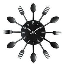 Bestek metalen keuken Wandklok lepel vork creatieve kwarts muur gemonteerde klokken modern design decoratieve horloge zwart