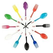 Bestek metalen keuken Wandklok lepel vork creatieve kwarts muur gemonteerde klokken modern design decoratieve horloge kleur