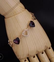 Romantische hart Crystal Charm Bracelets voor Women(Purple)