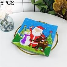 5 PCS Kleurrijke Print Santa Claus Party Decoratie Servet Gezichtsweefsel