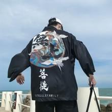 Mannen dunne sectie driekwart mouw kimono zon bescherming kleding losse vest jas  maat: L (zwart)