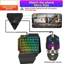 ZIYOULANG G1 Bluetooth / Wired Dual-mode Automatic Pressure Shooting Mobile Game Throne Keyboard Mouse Converter + K15 One-handed Gaming Keyboard + M3 Pressure Shooting Mouse Set  Compatibel met Android / IOS(Zwart)