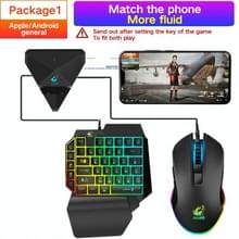 ZIYOULANG G1 Automatic Pressure Gun Mobile Phone Game Throne + K15 One-handed Gaming Keyboard + V1 Mouse Set Compatibel met Android / IOS(Zwart)