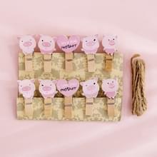 2 PC'S cartoon opknoping foto muur decoratie hennep touw creatieve kleurrijke houten clip (roze varken)